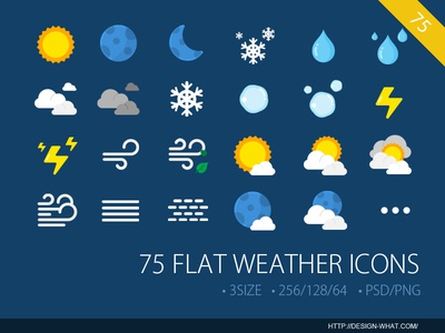 75 Flat Weather ICONs