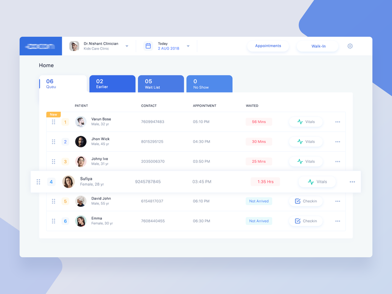 Appointment Scheduling App ui  ux creative simple clean web design ui ux health medical web admin interface minimal appointment activity dashboard app