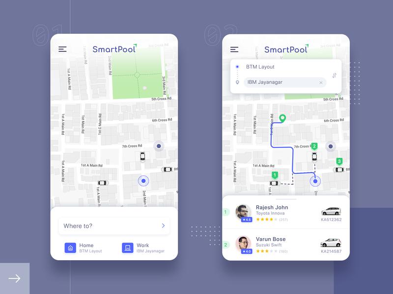 SmartPool - Carpooling App UI simple clean design carpooling car app uidesign ios mobile app ride travel cab ui minimal interface app