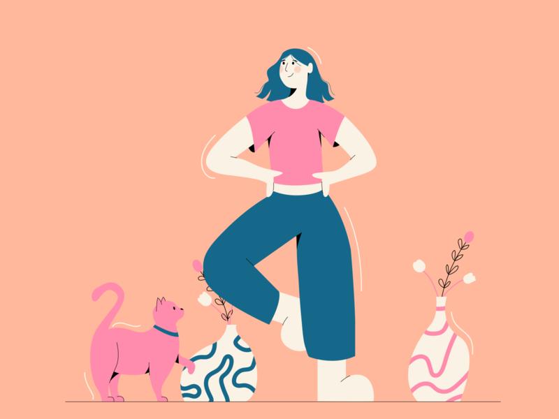 HappyFriday! cat flatdesign illustration