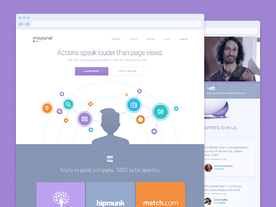 Mixpanel Home purple mixpanel landing icons illustration user comments action animation browser web flat footer