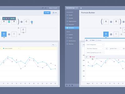 Mixpanel Formulas UI/UX formula equation dashboard navigation tooltip modal flat delete filter sort