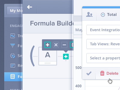 Mixpanel Formulas UI/UX formula equation dashboard navigation tooltip modal flat delete filter sort