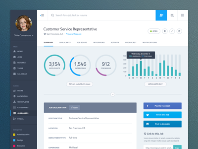 Dashboard Web App Product UI Design: Job Summary