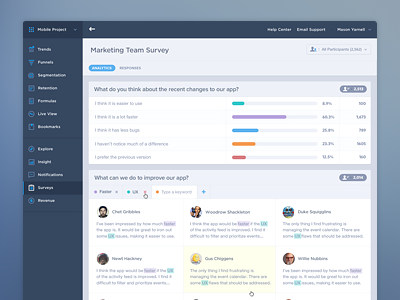 Survey Analytics UI/UX filter social metrics ux graph chart keyword form navigation icons dashboard product