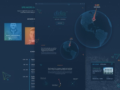 DDC Landing Page data landing microsite globe polygons dark 3d map conference space graph timeline