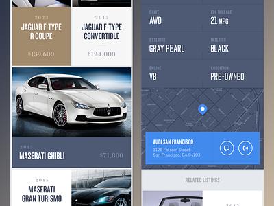 iPhone App for a luxury marketplace icon logo luxury brand motion animation ui ux activity typography monogram cars