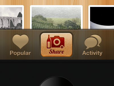 Wine App iPhone UI iphone texture wood ui red fabric wine interface bronze icon