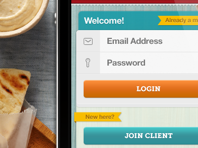 iPhone App Login Form  ui interface teal login iphone form sign orange food geomicons delivery tabbar ribbon yellow wood blue green red button icons icon