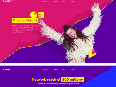 Landing Page and Motion Design ui brand hipster transition pop rocks animation marketing fresh famebit vibrant 80s motion