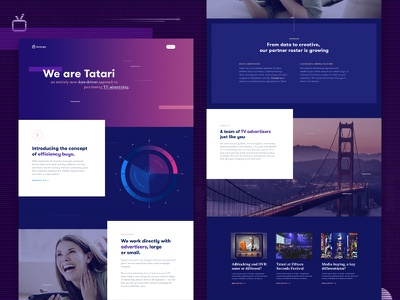 TV Advertising Platform Landing Page typography tv statistics analytics data purple tech