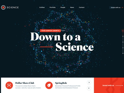 Science, Venture Capital Website Header html canvas investing ico blockchain capital venture landing science
