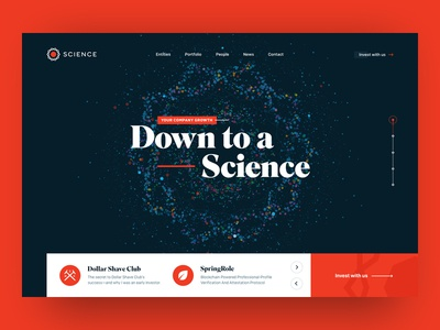 Science, Venture Capital Website Header html canvas investing ico blockchain capital venture landing science