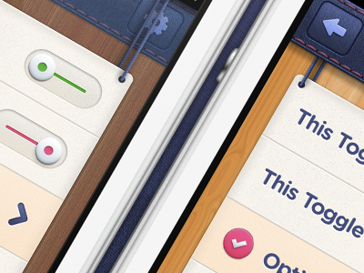 iOS iPhone App Modal Options modal wood switch ios iphone texture toggle retina