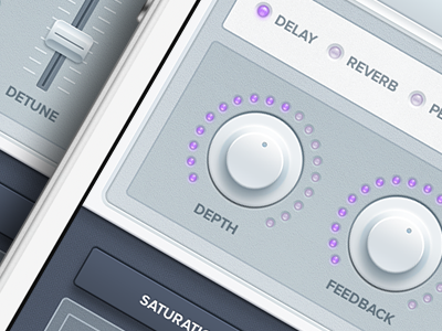 iPhone Synth Effects App UI Remix synth filter delay reverb knob grid lights blue purple knob twiddler interface detune pitch ui music ios7