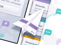 Plane icon, landing page UI: Mixpanel