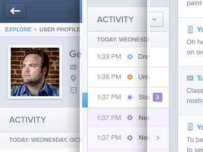 Activity Profile UI UX  activity feed activity feed mixpanel icons web data message email push notification push notification blue navigation profile dashboard flat tooltip