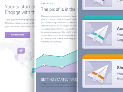 Landing Page UI, Mixpanel Engage Launch purple teal orange data icons icon graph infographic iphone push notification notification