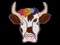 Vache avec couronne de fleurs
