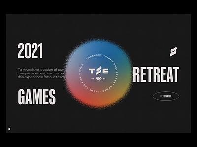 2021 Retreat Games web design website webflow competition animation light puzzle retreat olympics interactive game branding ux ui design