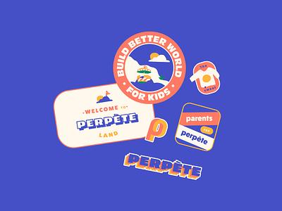 Stickers branding brandmarks illustrations perpete fashion brand colors kids illustration stickers
