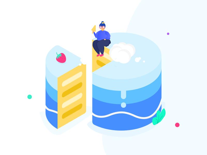 Dividend blue illustrator isometric branding design ui startup vector illustration flat