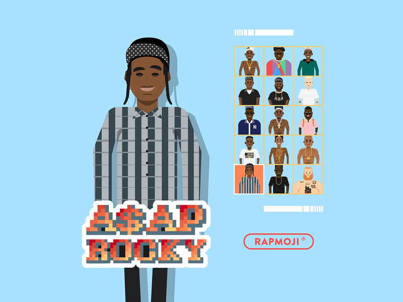 A$AP ROCKY - RAPMOJI app logo vector icon ui design french cube flat branding face colors illustration retro gaming hiphop asap rocky