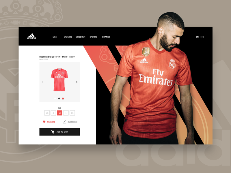 DAILY UI #04 - Real Madrid Jersey ( product page ) champions spain liga red third player french karim benzema realmadrid ecommerce branding ui product page football jersey soccer adidas