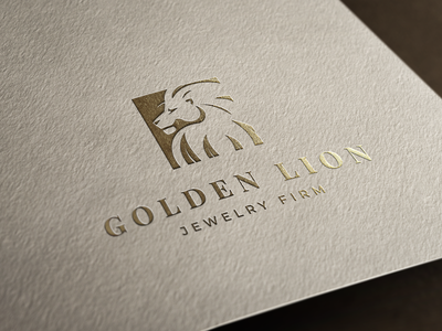 🦁Golden Lion - Logo Concept process logo french colors flat design illustration branding mockup paper stamp logotype animal shining jewelry shop jewelry logo jewelry lion king lion gold