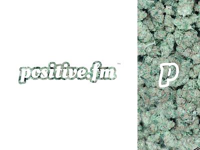 Positive.fm // Logo concept illustrator lettering minimal website illustration typography web vector icon process french ui weed flat design colors outline branding logotype logo