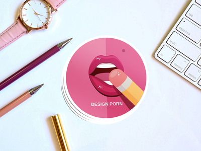 DESIGN PORN // Sticker concept icon colors design flat french face vector illustration mouth lips pencil blowjob sex pink design porn sticker design round sticker stickers sticker mule sticker