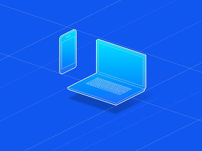 Blueprint Laptop & Phone // Isometric illustrations gradient isoflow cube 3d perspective blueprint device vector process colors french flat design illustration branding isometric