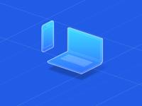 Blueprint Laptop & Phone // Isometric illustrations