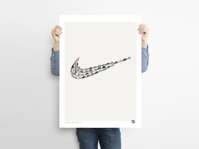 SNEAKERS SWOOSH - Kicks&Tees (Poster) print flat french illustration art illustrator airmax nike poster art illustration branding colors