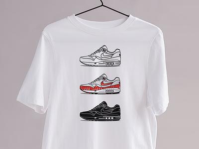 Le Tinker - Kicks&Tees (Tee-shirt) tee shirt vector french design illustration branding art flat tshirt clothing fashion collection harfield tinker airmax nike sneakers
