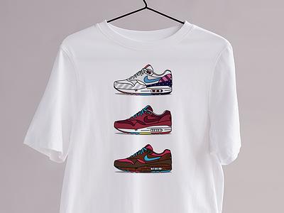 Le Parra - Kicks&Tees (Tee-shirt) tee shirt tshirt clothing fashion art vector french flat illustration branding colors airmax nike sneakers