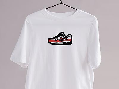 Le OG Red - Kicks&Tees (Tee-shirt) flat colors vector french illustration graphic design clothing branding tee shirt tshirt sneakers airmax nike