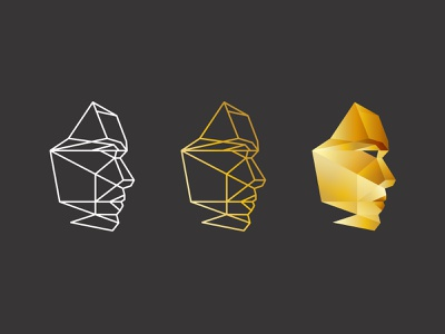 Face gem diamond head face geometry logomark logo
