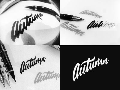 Autumn Process branding corporate identity gold coast australia logo logo design verg verg advertising matt vergotis design agency brush pen lettering process black  white