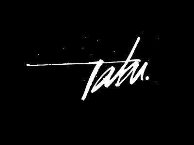 Tabu branding corporate identity gold coast australia logo logo design verg verg advertising matt vergotis design agency ruling pen lettering signature black  white