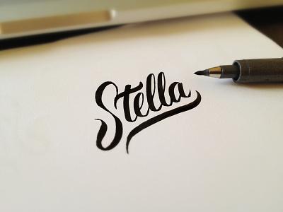Stella Lettering lettering logo gold coast verg australia matt vergotis stella custom type cursive
