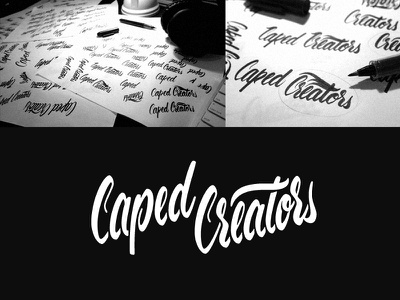 Caped Creators lettering cursive brushpen logo caped creator verg gold coast