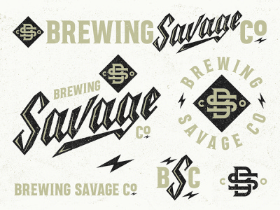 Savage emblem logo craft beer beer lightening bs monogram lettering logo brand