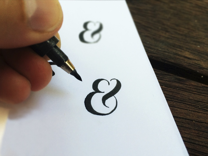 Ampersand Challenge lettering brush pen cursive hand drawn ampersand practice love heart calligraphy