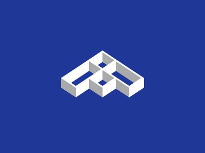 A Modular Mark logo modular isometric building branding a