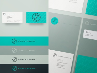 Search Insights logo custom type font gold coast australia visual identity stationery collateral seo business cards
