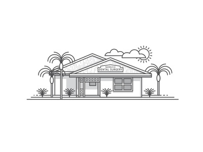 Dental Surgery Illustration surgery logo illustration monoweight sun house palm tree dental clouds