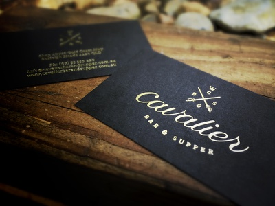 Cavalier Business Cards business cards stationery font icons custom type verg logo corporate identity gold foiling