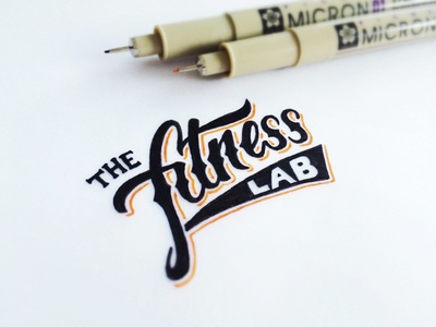 The Fitness Lab lettering brush pen cursive hand drawn sketch logo fitness gym