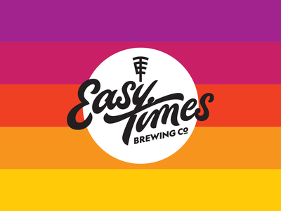 Easy Times Brewing Co sunset circle monogram brewery craft beer script logo lettering